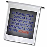 3dRose fl_180023_1 Take a Look in The Mirror, Blue Lettering on a Silver Metal Background-Garden Flag, 12 x 18-inch, White