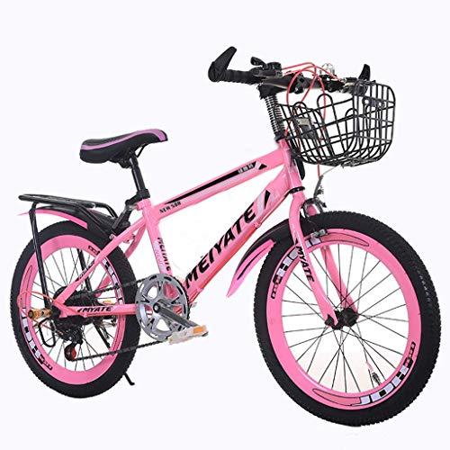 YJTGZ Fahrräder Mountainbike Rosa Outdoor Prinzessin Fahrrad Schöne Fahrrad 20/22 Zoll Geschwindigkeit Einstellbar Student Kinder Fahrrad Geeignet Für Mädchen (Color : Pink, Size : 22inch)