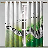 Grommet Curtains Music Music Piano Keys Curvy Fingerboard Summertime Entertainment Flourish Lime Green Black White Insulating Blackout Drapes 72x84 Inch