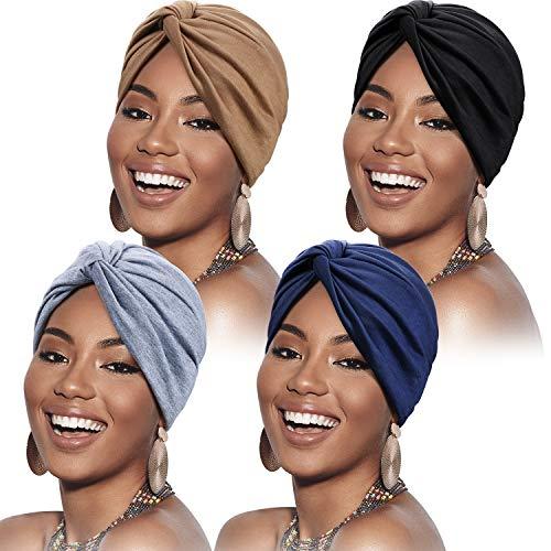 4 Piezas Gorro Turbante para Mujeres Gorro de Nudo Pre Atado Suave Pañuelo de Cabeza Plisada de...