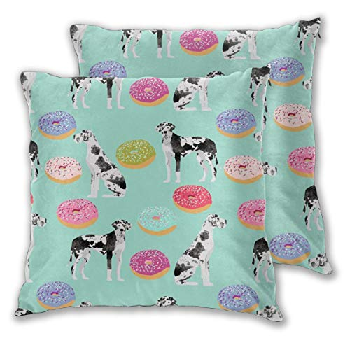 "NoneBrand Great Danes Donuts Cute Dogs Donuts Designs Best Dog Designs for Dog Owners Daily Decoration Sofa Bedroom Car Cushion Cover Zip Pillow Cover 18""x 18"", Set of 2"