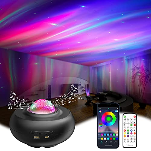 LED Sternenhimmel Projektor, RGBW Smart Galaxy Projektor Sternenhimmel Lampe mit App-steuerung&Fernbedienung, Musik Sync 3D Polarlicht Sternenlicht Projektor Nachtlicht für Kinder,Erwachsene(schwarz)