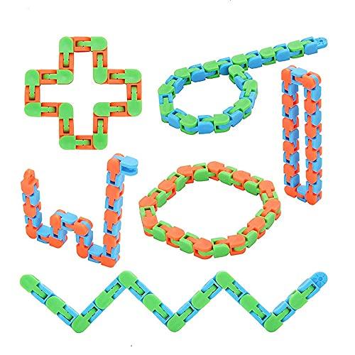 EACHHAHA Wacky Tracks Zappeln Spielzeug Schlangenkette Puzzle Sensorisch Einfaches Zappeln Spielzeug Zum Stressabbau Rompecabezas Rompecabezas Grandes Juguetes de Fiesta (6 Unidades)