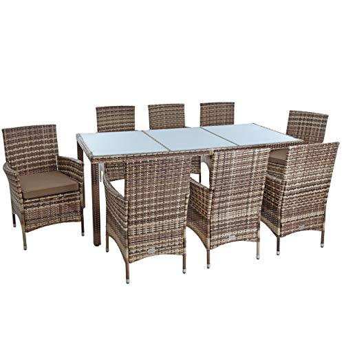 Estexo Polyrotan zitgroep tuinmeubelen set voor 8 personen, rotan meubels tuinset rotan eetgroep tuinstoelen tuintafel kruk stoel met kussen beige-bruin