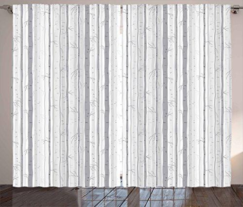 """Ambesonne Grey and White Curtains, Birch Tree Grove Leafless Branches Winter Woodland Illustration, Living Room Bedroom Window Drapes 2 Panel Set, 108"""" X 84"""", Grey White"""