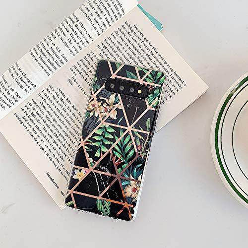 Uposao Kompatibel mit Samsung Galaxy S10 Marmor Hülle Case Glitzer Marmor Blumen Muster Weiche TPU Silikon Ultra Dünn Hülle Schutzhülle Kratzfest TPU Bumper Handytasche Case Cover,Schwarz