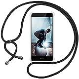Ingen Funda con Cuerda para Huawei P8 Lite 2017 - Carcasa Transparente TPU Suave Silicona Case con Colgante-(Negro)