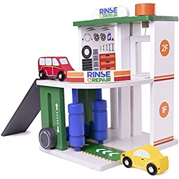 Imagination Generation Rinse & Repair Car Wash and Service Station   2-in-1 Wooden Playset with Car Wash Working Elevator and Ramp   Includes 2 Colorful Toy Cars