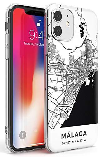 Case Warehouse Mapa de Málaga, España Slim Funda para iPhone 11 TPU Protector Ligero Phone Protectora con Viaje Pasión De Viajar Europa Ciudad Calles