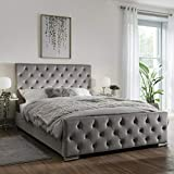 mm08enn Beautiful Modern ATN Bed Frame in Soft Plush Fabric Fully <span class='highlight'>Upholstered</span> Designer Single/Double/King Size (4FT6 DOUBLE, SILVER)