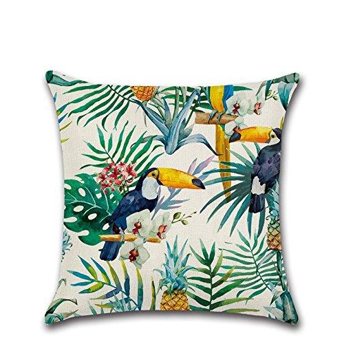 Excelsio - Housses de coussin - Motif floral, tropical - Pour canapé, lit, salon, chambre à coucher, décoration d'intérieur - Forme carrée personnalisée - Coton-lin - 45 x 45 cm
