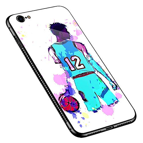 iPhone 6s Plus Case,Watercolor Player Back iPhone 6 Plus Case,Pattern Design Shockproof Non-Slip Tempered Glass Case for Apple iPhone 6s Plus/6 Plus