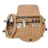 QEES - GJB309 - Kit de barman, bolsa de transporte, grande, portátil, para hacer cócteles en el hogar y en el lugar de trabajo, bolsa de herramientas para viajes 15.7'x 3.5'x 3.1' caqui