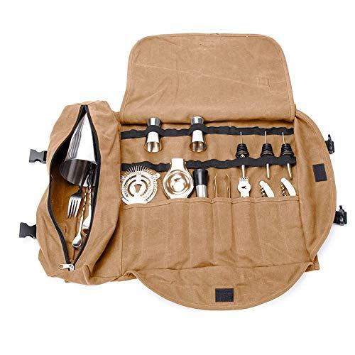 """QEES - GJB309 - Kit de barman, bolsa de transporte, grande, portátil, para hacer cócteles en el hogar y en el lugar de trabajo, bolsa de herramientas para viajes 15.7""""x 3.5""""x 3.1"""" caqui"""