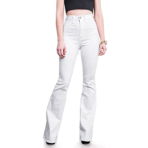 a36017b44ab6b7 Women's Juniors Trendy High Waist Slim Denim Flare Jeans Bell Bottom Pants
