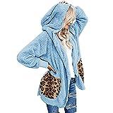 Abrigo Invierno Mujer con Leopardo Estampado Bolsillo Talla Grande S-XXL Moda Mujer Marcas Puños Acanalados Anorak Mujer Chaqueta Punto Mujer Bata Mujer Jersey Mujer Invierno Rebajas Gris Rosa Azul