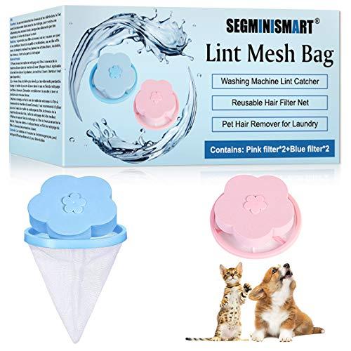 SEGMINISMART Haustier Haarentferner für Wäsche,Tierhaarentferner Waschmaschine,Wiederverwendbare Floating Lint Mesh Bags Laundry Ball Pouches für Wäsche,Hundehaar und alle Haustiere