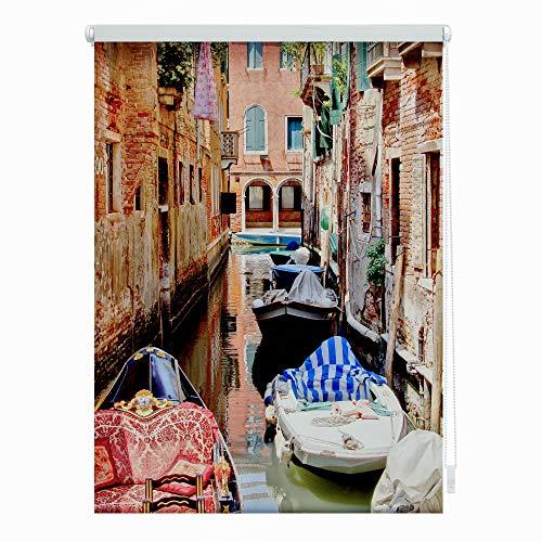 Lichtblick KRT.070.150.359 Rollo Klemmfix, ohne Bohren, Blickdicht, Venedig Gondola - Rot 70 x 150 cm (B x L)