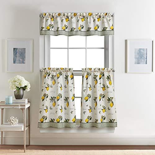 Vintage Lemon 3-Piece Kitchen Curtain Tier and Valance Set, 28W x 36L Tier Pair, 56W x 14L Valance, Multi Yellow