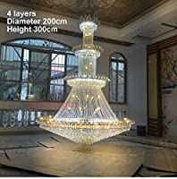Honana 埋め込みインストール モダンクリスタルシャンデリアライトラージレストルK9 LEDゴールドクリスタルシャンデリアランプアップスケールロイヤルリビングルームホテル (Emitting Color : Changeable, Size : 60 x 80cm 3 layers)