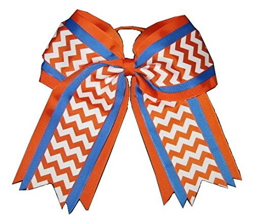 New'ORANGE BLUE CHEVRON' Cheer Hair Bow Pony Tail 3 Inch Ribbon Girls Cheerleading Practice Football Games Uniform Hairbow Competition