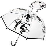 alles-meine.de GmbH Kinderschirm / Regenschirm - Fahrrad & Sport - inkl. Name - Ø 78 cm - durchsichtig & durchscheinend - transparent - Kinder - Stockschirm - groß mit Griff - Ei..
