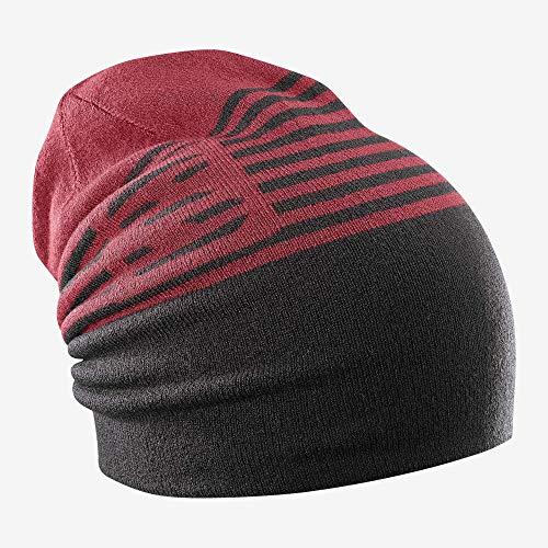 Salomon Unisex Umkehrbare Multisport-Mütze, FLAT SPIN Beanie, Rot/Schwarz (Biking Red/Black), Einheitsgröße, L40304200