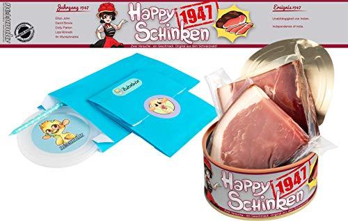 Happy Schinken   200 Gramm Schwarzwälder Schinken in der Dose   Personalisiert mit Wunsch- Geburtsjahr und Namen   Geburtstagsgeschenk   Geschenk   Geschenkidee (1947)