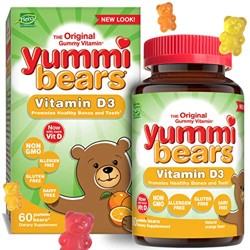 Yummi Bears Vitamin D3 Gummy Vitamin Supplement for Kids, 60 Count (Pack of 1)