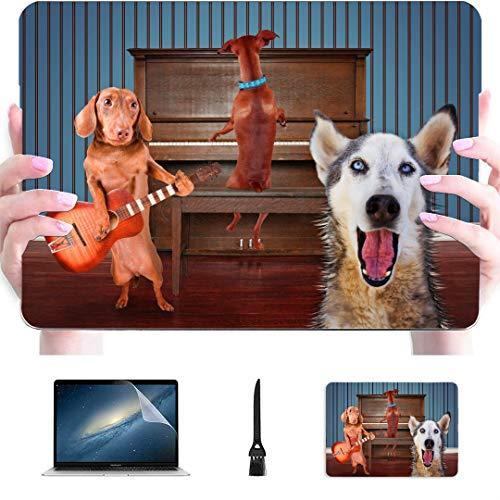 Funda Macbook Air 13 Un trío de Perros Cantando Frente a un Piano Buena Funda de plástico rígido Compatible con Mac A1466 Macbook Air Funda Accesorios de protección para Macbook con Alfombrilla de r