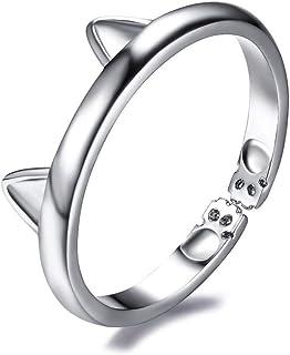 Lozse Anelli regolabili Orecchie di gatto anello della signora carine anello aperto