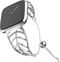 UooMoo Band Compatible with Fitbit Versa/Fitbit Versa 2, Leaf Shape Stainless Steel Bracelet Women Replacement for New Fitbit Versa 2 Smart Watch