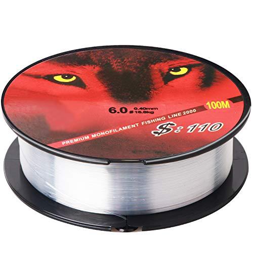 HCFGS - Sedal de pesca (500 m, nailon de alta tensión, monofilamento, 0,4 mm, fuerza de resistencia de unos 9 kg), clean