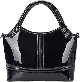 Yan Show Women's Patent Leather Fashion Handbag Splice Shoulder Bag Simple Top Handle Bag Purse (Black)