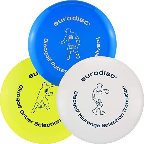 Eurodisc Disc Golf Frisbee Einsteiger Starter Set besonders hochwertig haltbar Selection Putter Midrange Driver (BlauOrangeGelb)