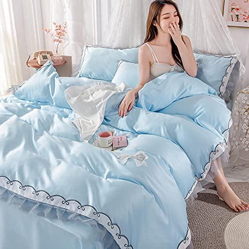 funda de edredón cama 90,Chica corazón de seda princesa estilo sedoso hoja de hielo edredón cubierta ropa de cama, juego de ropa de cama 100% poliéster king size tapa edredón conjunto de 4 piezas con