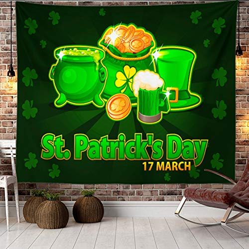 JJAIR Happy St.Patrick's Day Tapestry Green Hats with Four Leaf Clover Daisy Tapestry Tapestry Wall Art Bedroom Living Room Dorm Decor,3,200 * 150cm