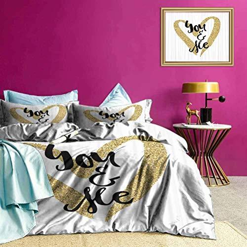 Set copripiumino You and Me Phrase Set di biancheria da letto multiuso Colore splendido, buona wuakity