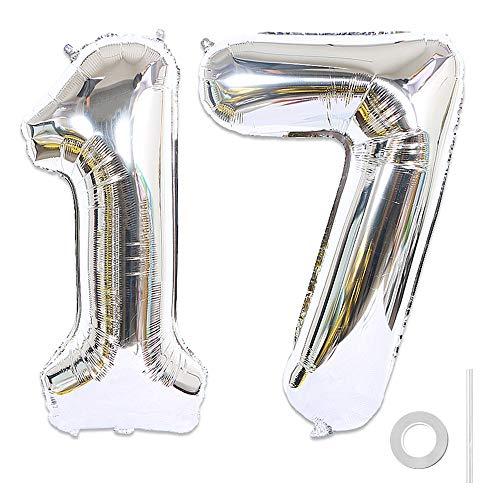 Ceqiny Digitaler Ballon Luftballons Nummer Zahl 17 Ballon Großer Folienballon in 40