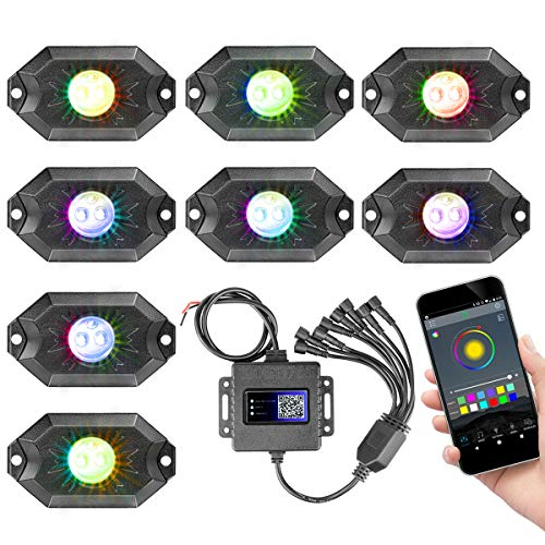 RGB LED Rock Light Kits, Swatow Industries Neon LED Lights RGB Rock Lights Waterproof Bluetooth Lights Underglow Lights for Truck Car Off Road ATV UTV Motorcycle Boat - 8 Pods