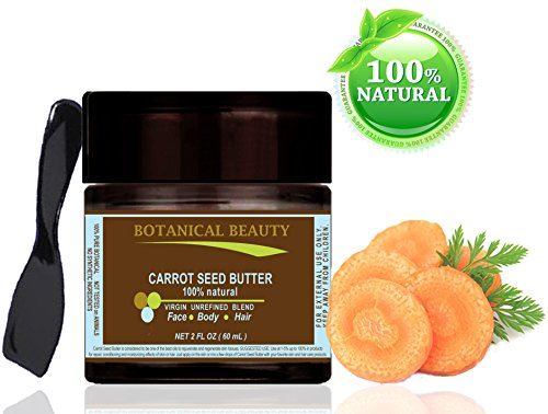 Burro di semi di carota 100% naturale/100% pure Botanicals. 2fl. oz.-60ml. Per pelle, capelli e cura delle unghie. ''One of the best burro a rinnova e rigenera...