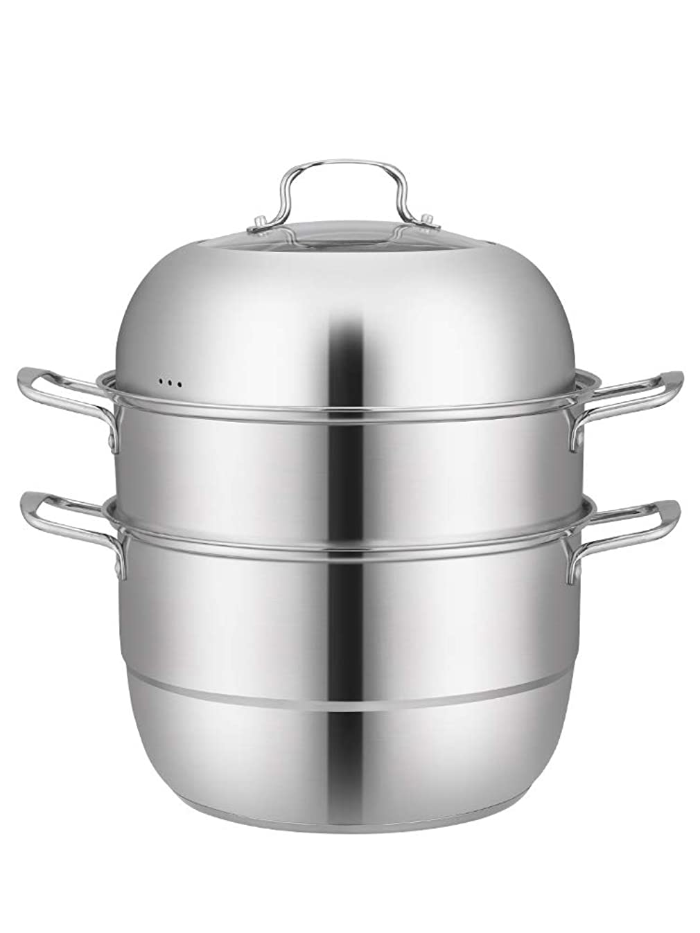 Beeiee Stainless Steel 3-Tier/Layer 11 inch Diameter Steamer cooking pot, Rice cooker, Double Boilder, stack, steam soup pot and steamer Work with Gas, Electric and Grill stove top (3-Tier 11