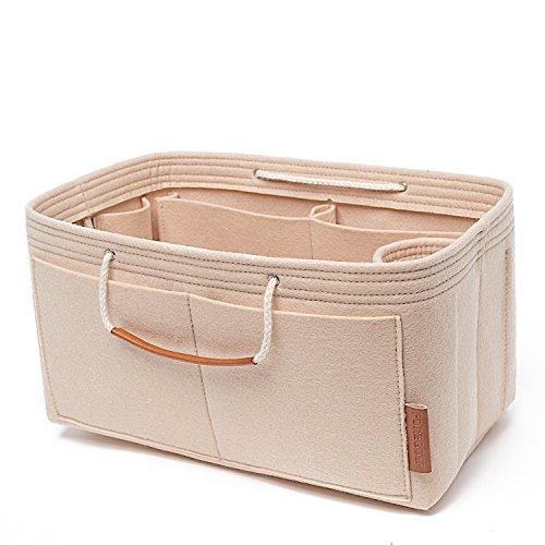 FOREGOER Filz Handtasche Tasche Organizer Einsatz für Tote mit Griffen (Aprikose, M-Mittel(30 * 16 * 16cm))