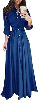 Womens Fashion Casual Long Sleeve Button Down Dress Maxi Shirt Dress
