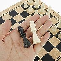Scacchi in Legno 3 in 1 Set di Scacchiera in Legno Dama Giocattolo da Backgammon Pieghevole Portatile per Viaggio Giocattoli Educativi per Adulti Bambini (29x29 cm) #5