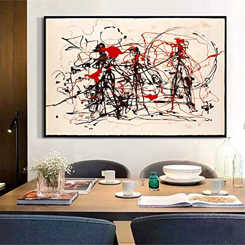 Impresión de lienzo Jackson Pollock 《Ensayo de expresionismo abstracto》 Lienzo Arte moderno Pintura al óleo Arte Póster Imagen Decoración para el hogar 40x55cm Sin marco