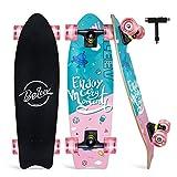 BELEEV Skateboard 27x8 Zoll Komplette Cruiser Skateboard für Kinder Mädchen Teenager Erwachsene, Ahorn Double Kick Deck Concave Skateboard für Jugendliche mit All-in-One Skate T-Tool (Pink)