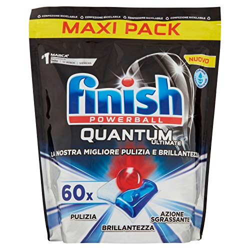 Finish, Quantum Ultimate, 60 pastillas para lavavajillas, 1 paquete de 60 pastillas, regular, 750 g