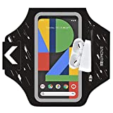 Pixel 5a/4XL/3XL/2XL Armband, BUMOVE Gym Running Workouts Sports Phone Arm Band for Google Pixel 5a, 4 XL, 3a XL, 3 XL, 2 XL up to 6.9 inch with Airpods Card Key Holder (Black)
