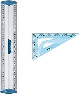 Maped - Double Décimètre Aluminium - Règle Plate 20 cm - Règle de Traçage en métal & Équerre Incassable - Équerre 60° Gran...
